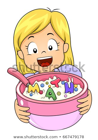 Kid meisje math granen kleurrijk illustratie Stockfoto © lenm