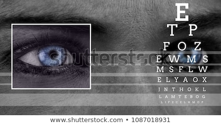 Stock photo: Woman With Eye Focus Box Detail And Lines Interface