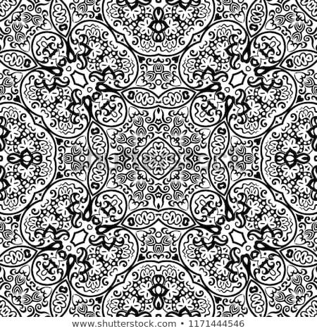 mandala · zwart · wit · vector · bloem - stockfoto © lissantee
