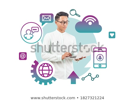 Businessman using phone with mail concept around Stock photo © ra2studio