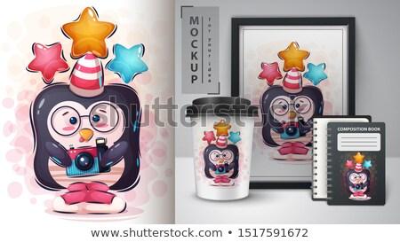 Pinguin poster vector eps 10 glimlach Stockfoto © rwgusev