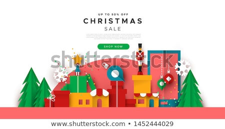 Christmas web sale template of papercut toy city Stock photo © cienpies