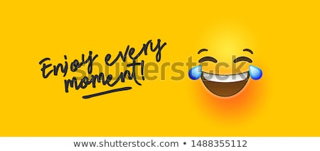 funny yellow emoji banner enjoy every moment quote stock photo © cienpies