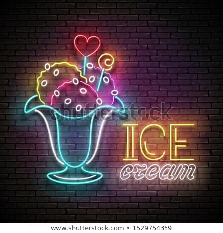 Vintage brillo anunciante helado pelota jarrón Foto stock © lissantee