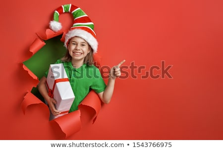 Santa's elf on bright color background Stock photo © choreograph