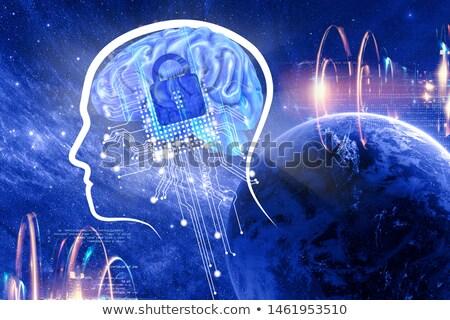 digital technology face artificail intelligence concept backgrou Stock photo © SArts