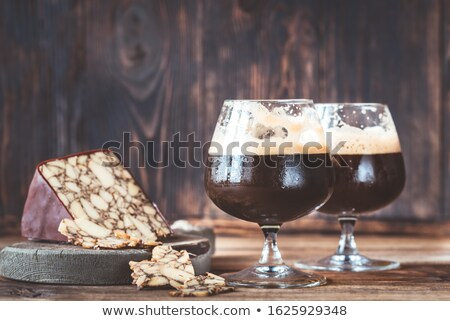 Two glasses of dark beer with Irish Porter Cheddar Stock photo © Alex9500