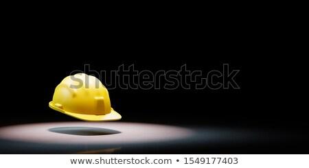 Citromsárga védősisak fekete copy space 3d illusztráció épület Stock fotó © make