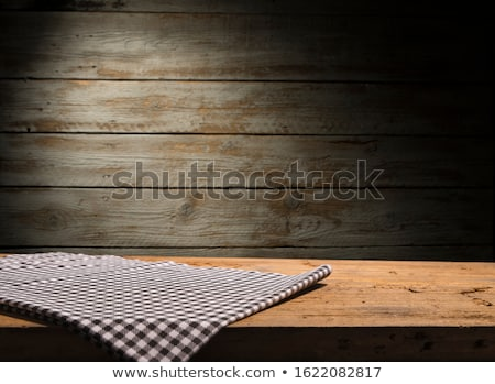 Kitchen textile on black rustic wooden background, napkin and to Stock photo © Anneleven