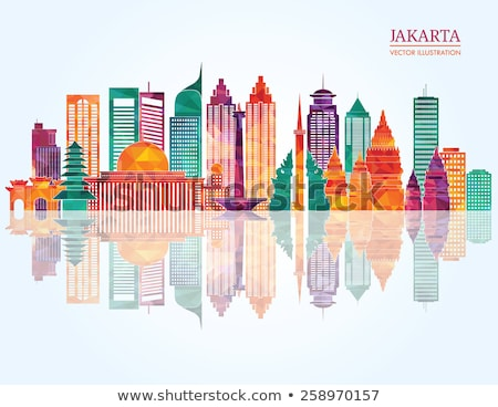 Abstract Jakarta skyline with color landmarks.  Stock photo © ShustrikS