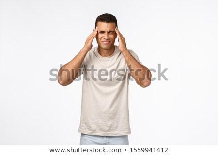 Jóképű fickó szenvedés rettenetes fejfájás fájdalom Stock fotó © benzoix