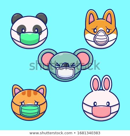Panda rajzfilmfigura visel maszk illusztráció háttér Stock fotó © bluering