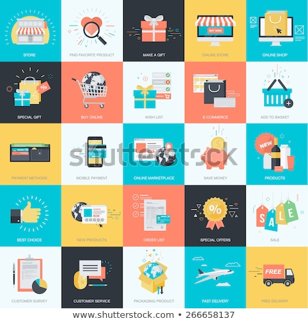 Flat design style illustrations of online payment, m-commerce, e-banking, time management, savings Stock photo © PureSolution