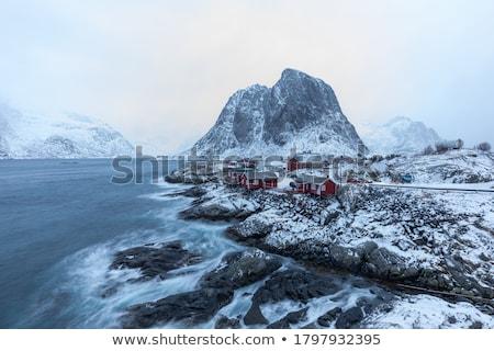 Halászat falu szigetek Norvégia ikonikus piros Stock fotó © dmitry_rukhlenko