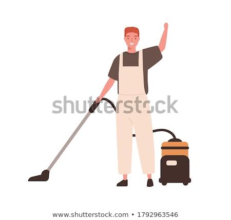男 真空掃除機 ワーカー トラック 車 作業 ストックフォト © AndreyPopov