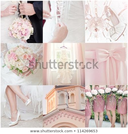esküvő · kollázs · gyönyörű · kilenc · kék · virág - stock fotó © paha_l
