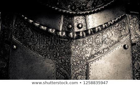 Páncél középkori lovag fém védelem katona Stock fotó © sibrikov