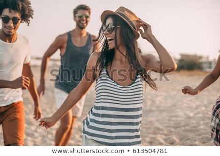 Stockfoto: Jongeren · strand · man · vrienden · team · teen