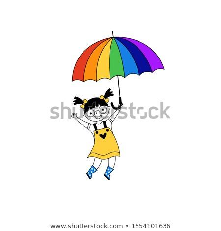 fiatal · divatos · nő · tart · esernyő · áll - stock fotó © grafvision