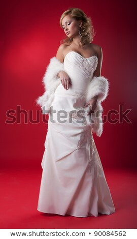 Stylish Woman Standing On Podium - Studio Shot Zdjęcia stock © Gromovataya