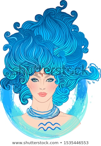 woman aquarius sign for coloring Stock photo © izakowski