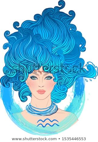 vrouw · teken · illustratie · mooie · vrouw · horoscoop - stockfoto © izakowski