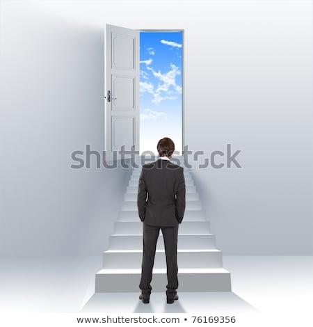 imprenditore · climbing · virtuale · isolato · bianco - foto d'archivio © feedough