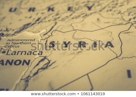 Foto stock: Síria · mapa · bandeira · viajar · preto · asiático