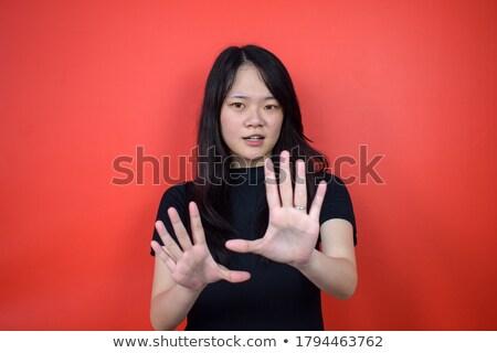bela · mulher · modelo · aviso · gesto · belo · mulher · jovem - foto stock © rosipro