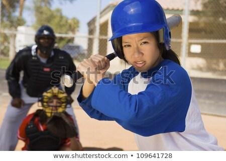 Kadın hazır oynamak beysbol sopası beyaz spor Stok fotoğraf © wavebreak_media