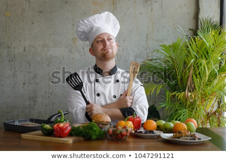 Gelukkig mannelijke chef spatel portret Stockfoto © wavebreak_media