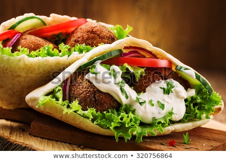 pita bread with falafelvegetable and hummus stock photo © m-studio