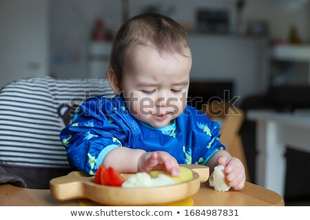 Baby plastikowe łyżka odizolowany szczęśliwy Zdjęcia stock © sdenness