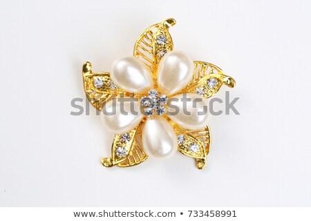 Altın broş elmas mavi 3d illustration çiçek Stok fotoğraf © dengess