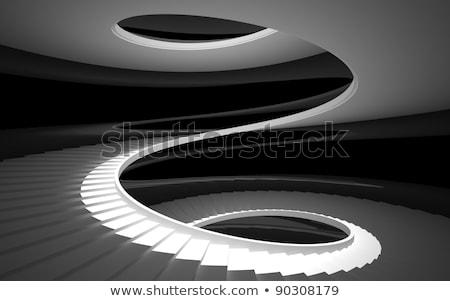 черно белые лестница изображение темно прихожей лестница Сток-фото © BigKnell