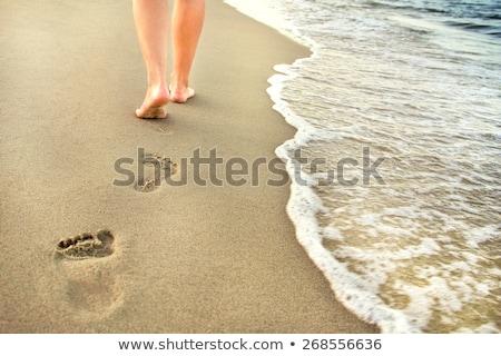 footprints  of man at the beach Stock photo © meinzahn