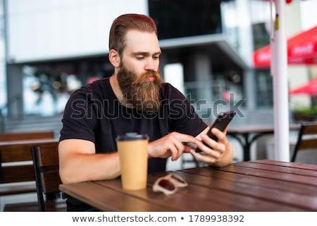 Stock fotó: üzletember · küldés · szöveges · üzenet · vállalati · fickó · sms · chat