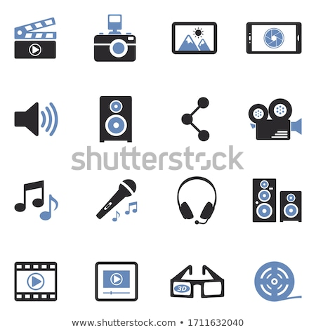 set of audio and video symbols isolated stock photo © elenapro