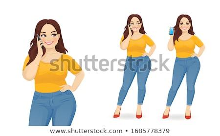 Feliz gorduroso mulher telefone móvel asiático ao ar livre Foto stock © Witthaya