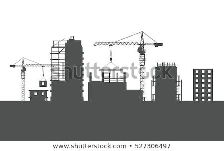 Grue silhouette grand bâtiment Photo stock © aetb