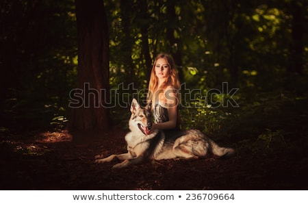Lovely Woman Posing With Wolves Outdoors Stock photo © tobkatrina