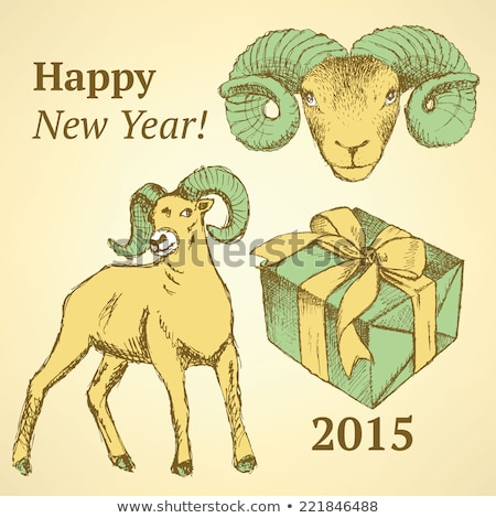 Sketch New Year ram and present in vintage style Stock photo © kali