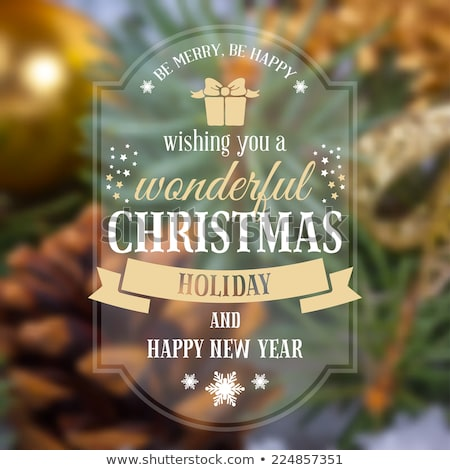 Foto stock: Retro Christmas Label On Blurred Background