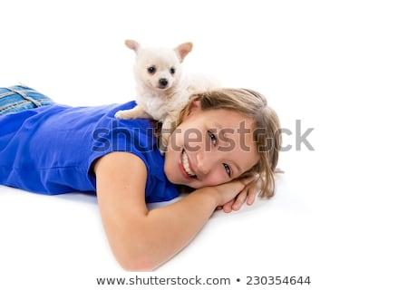 morena · menina · cachorro · cão · mini · criança - foto stock © lunamarina