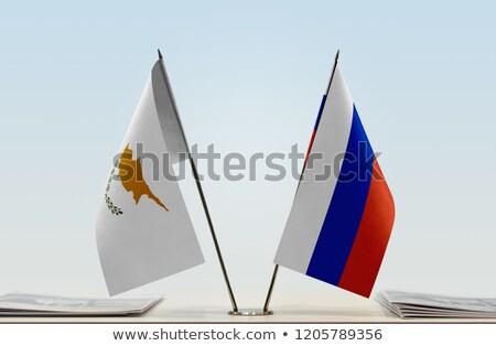 Rosja Cypr miniatura flagi odizolowany biały Zdjęcia stock © tashatuvango