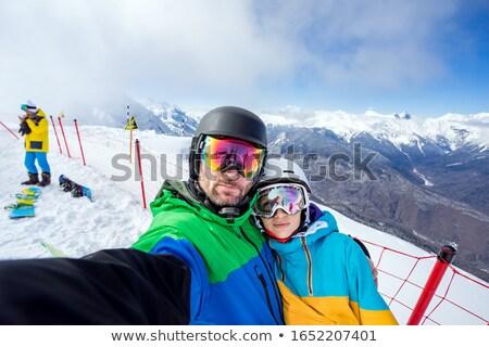 snowboard · dağlar · kask · manzara · dağ · kış - stok fotoğraf © smuki