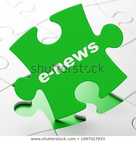 финансовых Новости зеленый головоломки белый бизнеса Сток-фото © tashatuvango