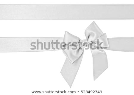 Ayarlamak şerit saten yaylar yalıtılmış beyaz Stok fotoğraf © teerawit