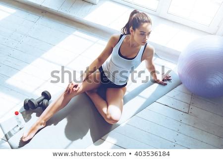 美しい スポーツ 女性 ダンベル ボトル 水 ストックフォト © vlad_star