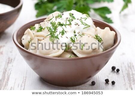 Orosz ravioli tejföl tányér étel levél Stock fotó © Mikko